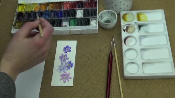 Folyamat a festészet hepatica virágok