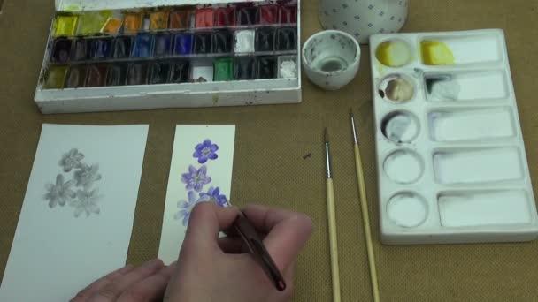 Festés egy tanulmány hepatica virágok