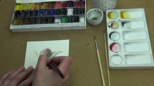 Festés, bazsarózsa virág tanulmány