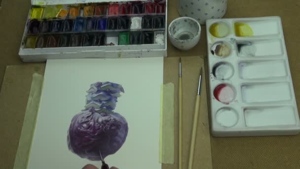 Painting a study of violet cabbage