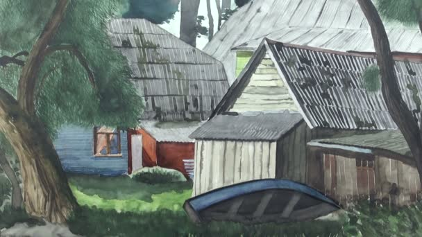 Obraz krajina s domy a lodí