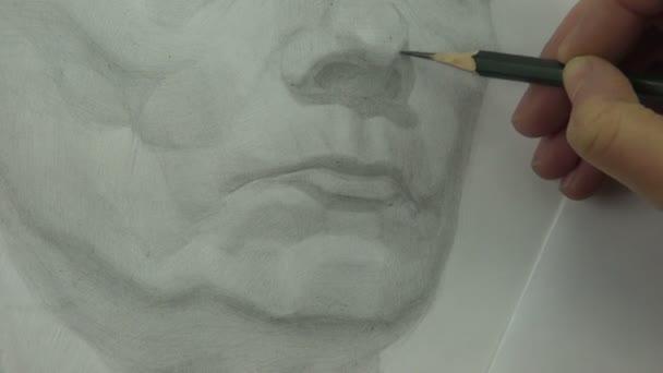 Kresleni Studie Stredniho Veku Zeny Nos A Rty S Grafitovou Tuzkou