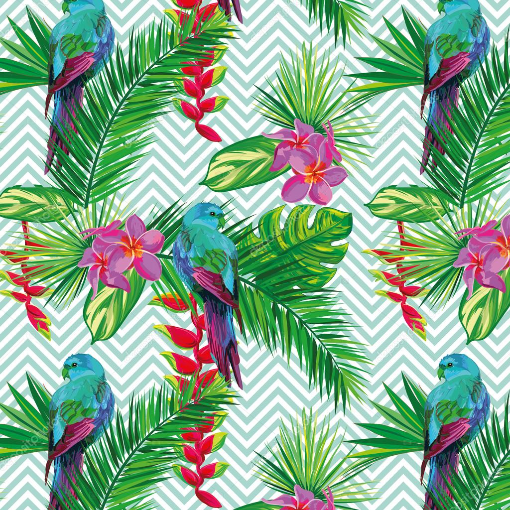 Beautiful seamless tropical jungle floral pattern background with palm leaves, flowers and parrots. Abstract striped geometric texture