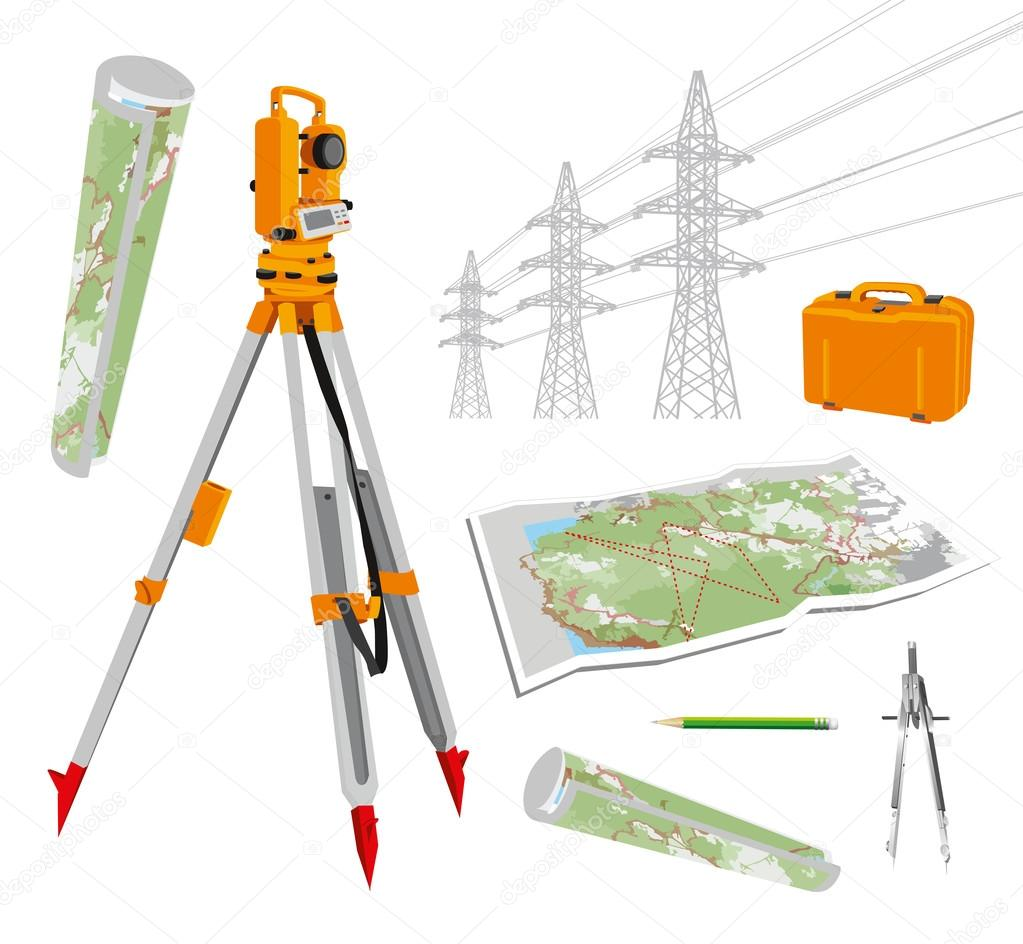 Theodolite, maps, compasses, pencil, power lines. Isolated vector set illustrations on white background