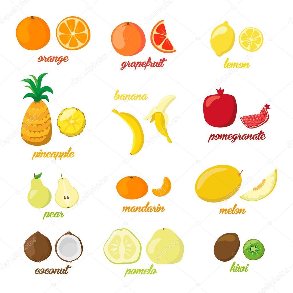 Set of colorful cartoon fruit icons pear, orange, banana, pineapple, kiwi, lemon, lime. Vector illustration, isolated on white.