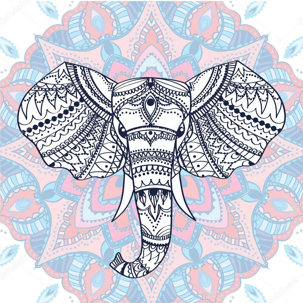 Cabeza con motivos étnicos de elefante indio. Ilustración de vector ...