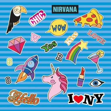 Fashion patch badges with different elements. Set of stickers, pins, patches and handwritten notes collection in cartoon 80s-90s comic style. Trend. Vector illustration isolated.