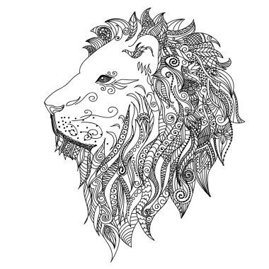 Lion. Mehndi Tattoo Doodles style.