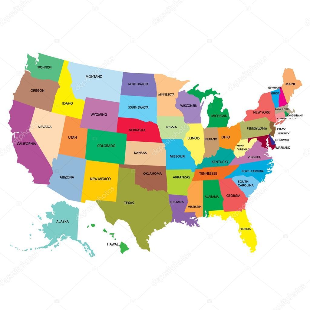 Mapa Ameriky se státy — Stock Vektor © Sl84 #92509162