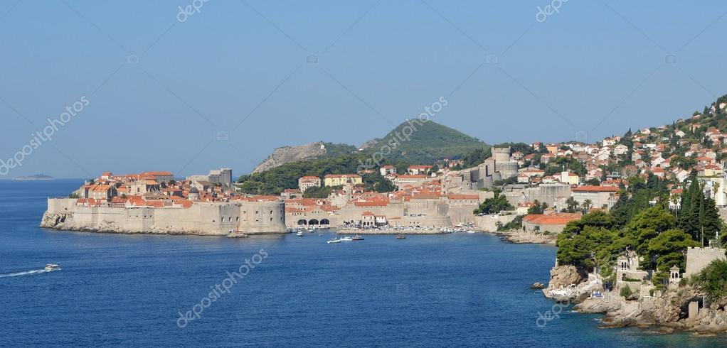 Dubrovnik old town city wall port and fortresses.
