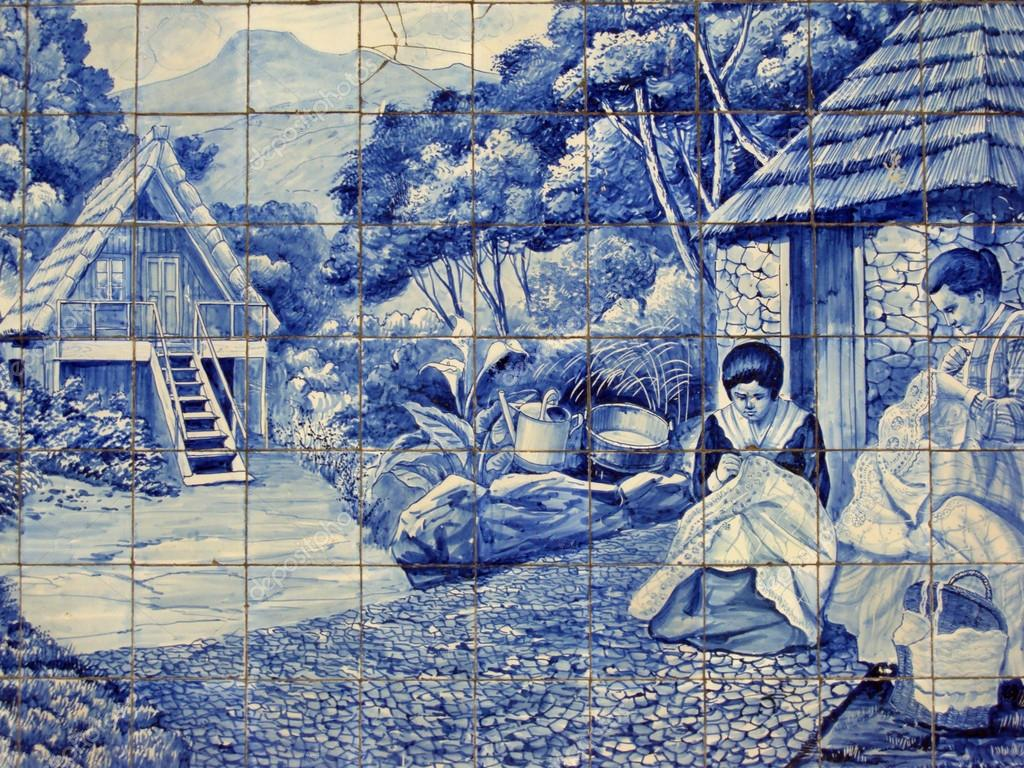 Traditional ceramic tiles in Madeira depicting local life. – Stock ...