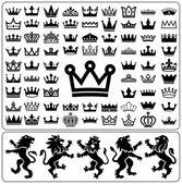 Fotografie Set of crowns and lion rampant. Heraldry elements design collection. Vector illustration.