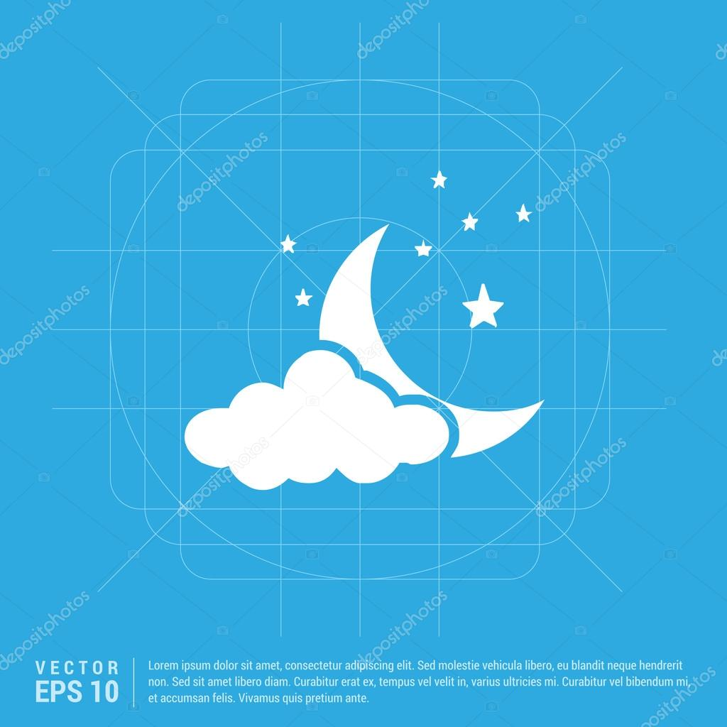 Weather icon with moon, stars and cloud