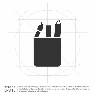 brush and painting tools in box icon