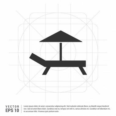 "Картина, постер, плакат, фотообои ""пляжный зонтик и значок кровати "", артикул 106273140"