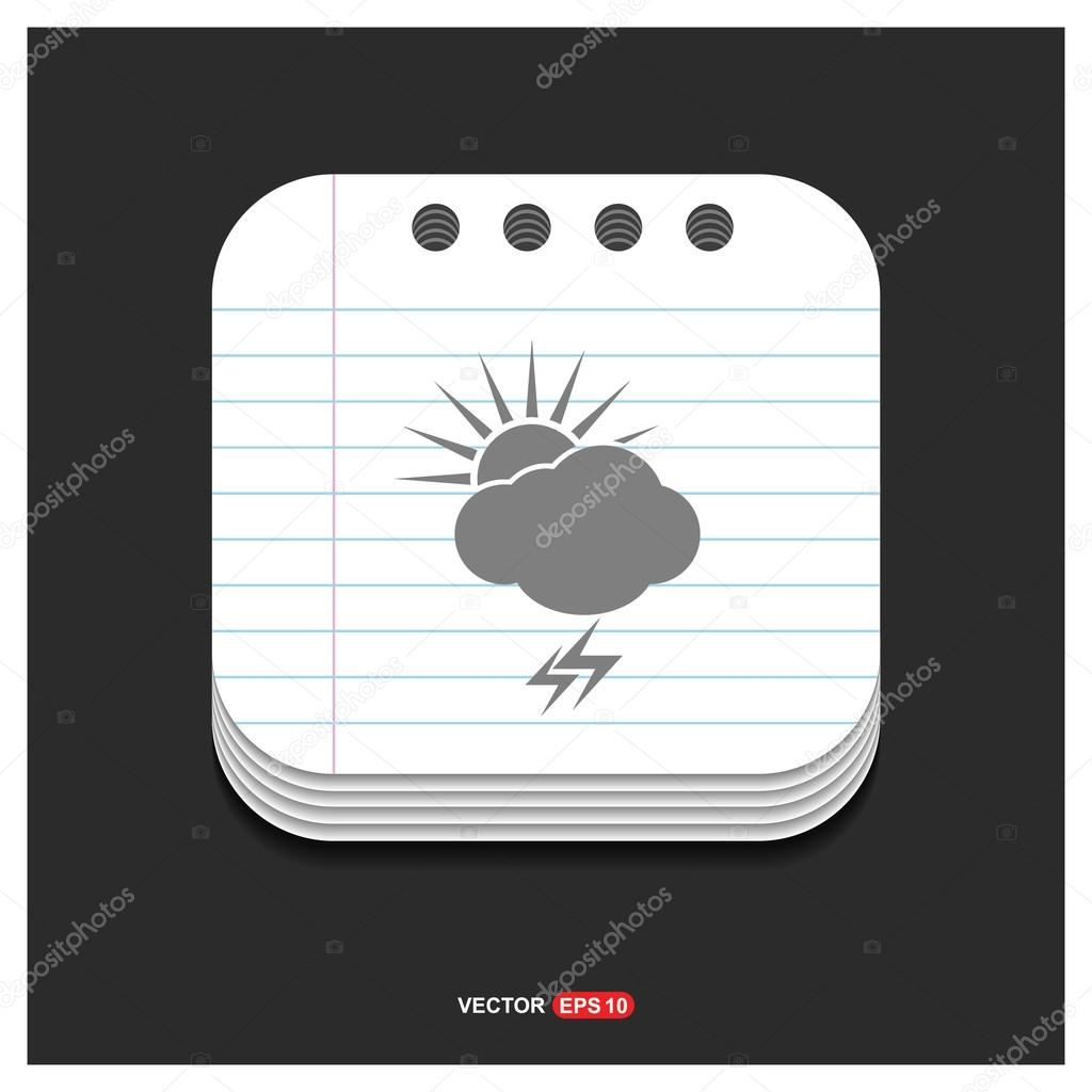 sun and thunder storm weather icon