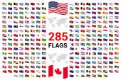 set of 285 world Flags of sovereign states