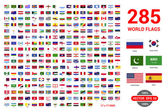 Fotografie set of 285 world Flags of sovereign states