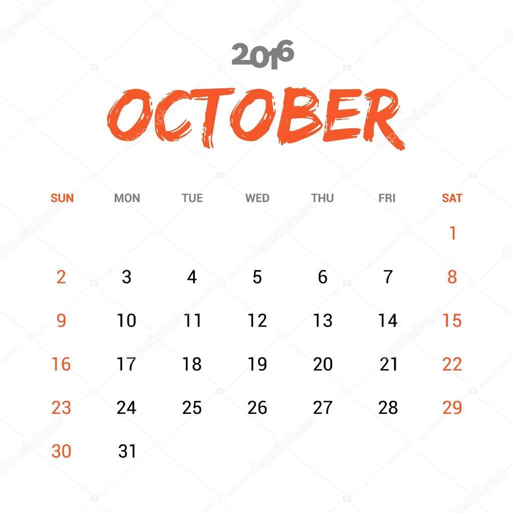 october calendar 2016 template stock vector ibrandify 92780810