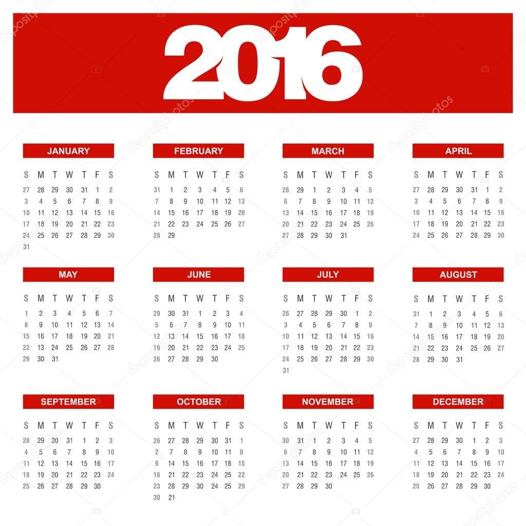 2016 Jahr Kalendervorlage — Stockvektor © ibrandify #92781902