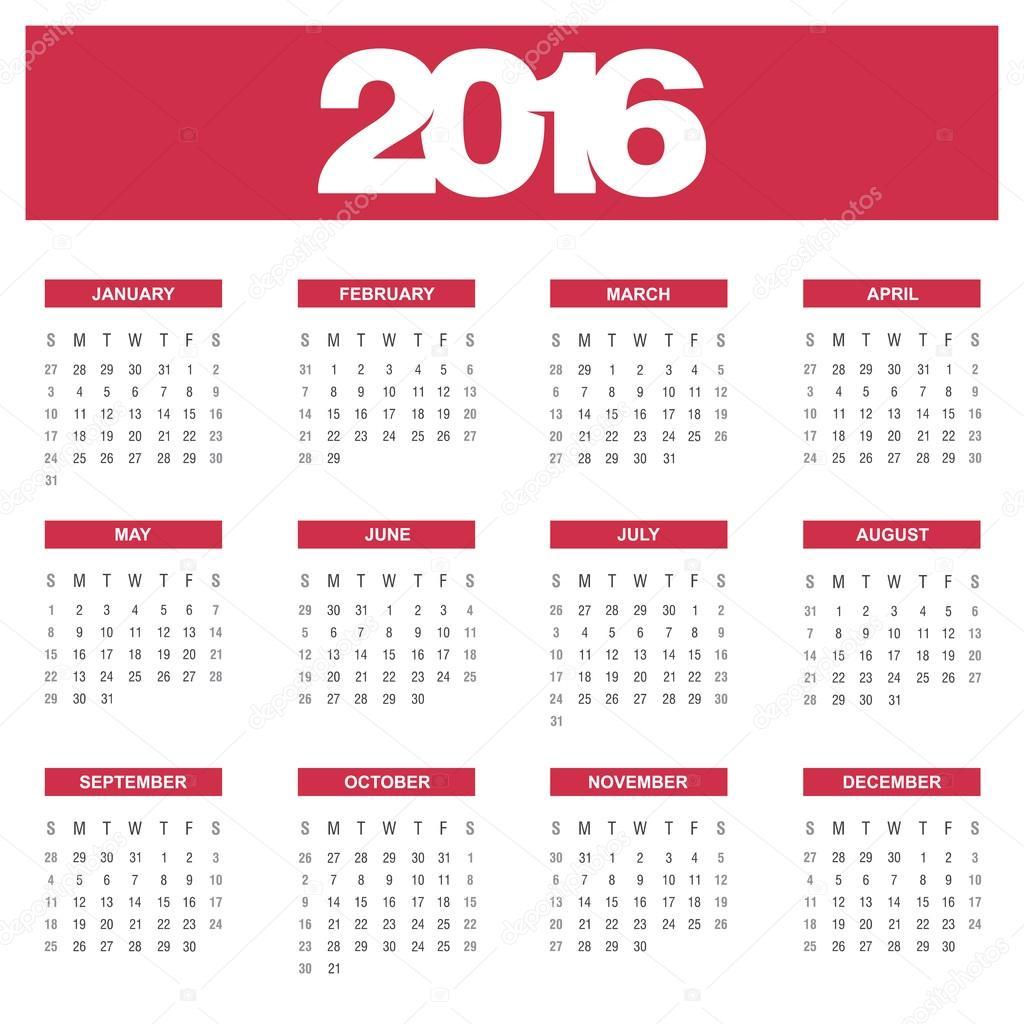 éves naptár sablon 2016 évi naptár sablon — Stock Vektor © ibrandify #92783238 éves naptár sablon