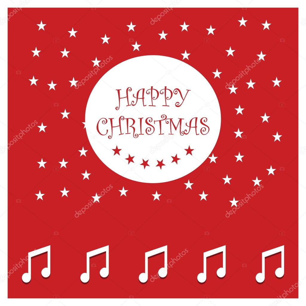 Christmas card with music notes vettoriali stock ibrandify 92789124 music notes icons on greeting card red background with stars happy new year and merry christmas modern calligraphy for christmas cards and posters m4hsunfo