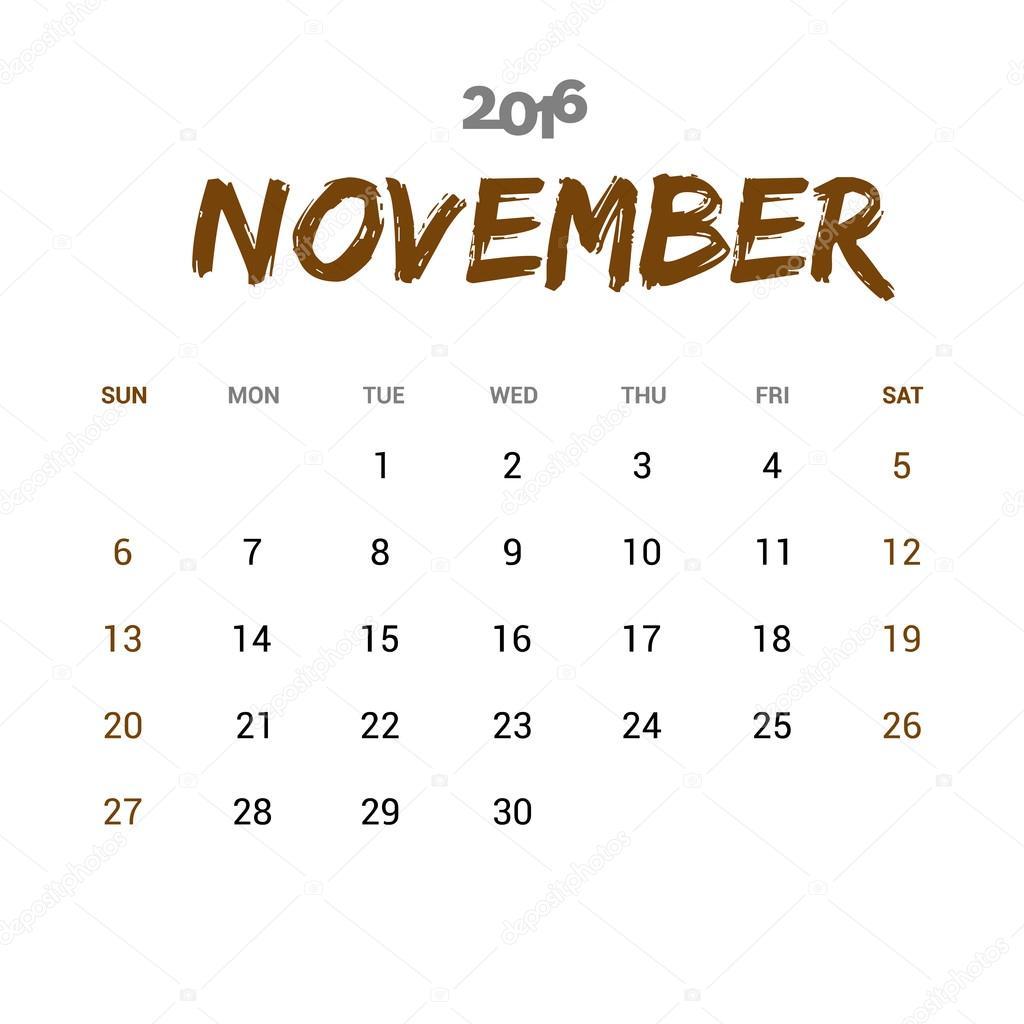 Plantilla de calendario 2016 noviembre — Archivo Imágenes ...