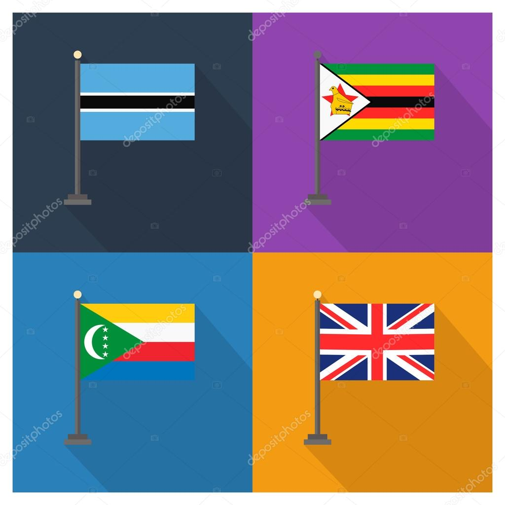 The flat design of the 4 country flags — Stock Vector © ibrandify