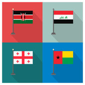 Photo The flat design of the 4 country flags