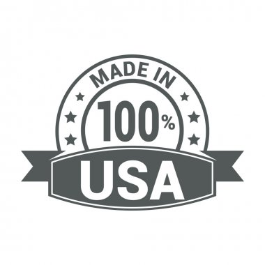 Made in USA . Round gray rubber stamp