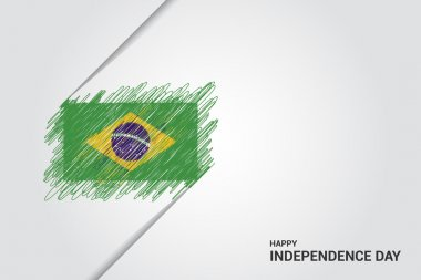 Brazil Happy independence day scribble flag