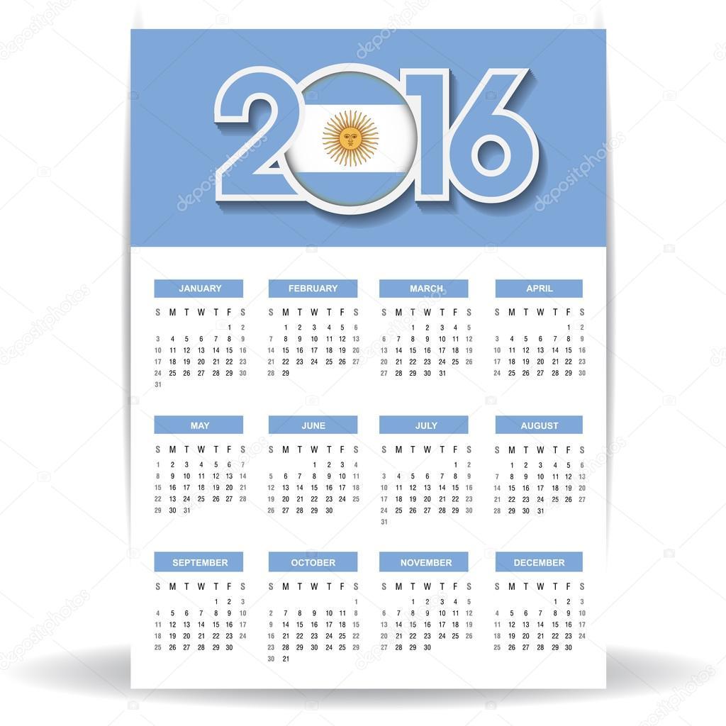 Calendario 2016 Argentina.Vector Calendario 2016 Argentina Calendario 2016 Con La