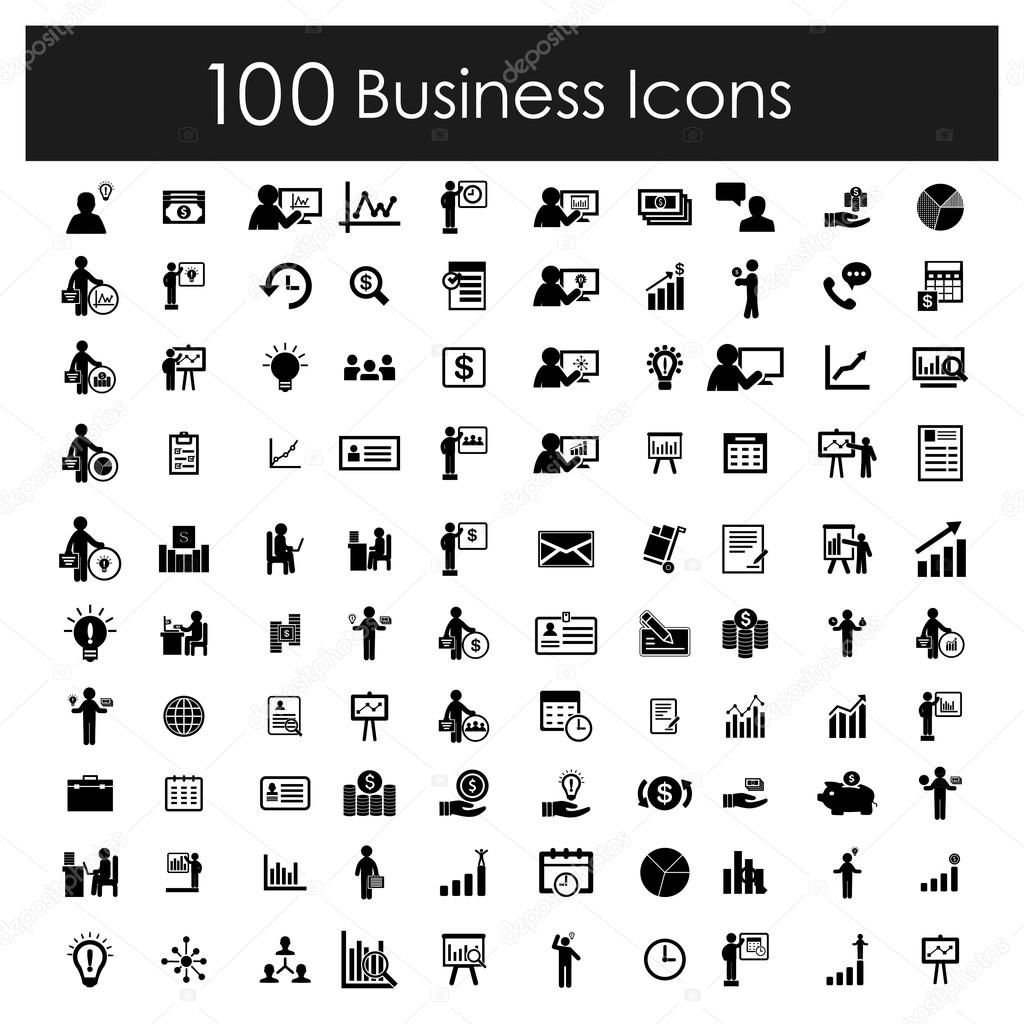 Set for web and mobile business icons