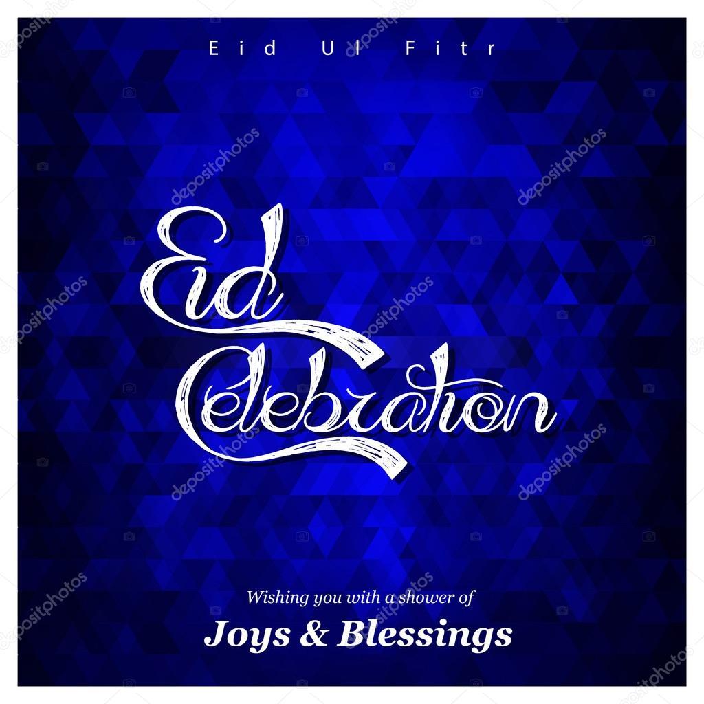 Eid ul fitr islamic festival greeting card stock vector islamic typography of text happy eid mubarak for muslim community festival eid ul fitr islamic greeting card vector illustration vector by ibrandify m4hsunfo