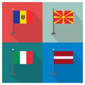 Fotografia Il design piatto delle bandiere del 4 paese