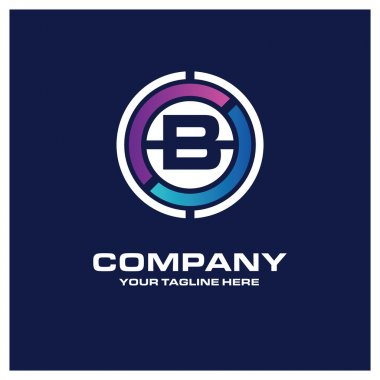 B Letter logo - Creative Circle Logo - Place for Company name and tag line . Business Icon - vector illustration clip art vector