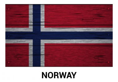 Norway flag on wood texture background