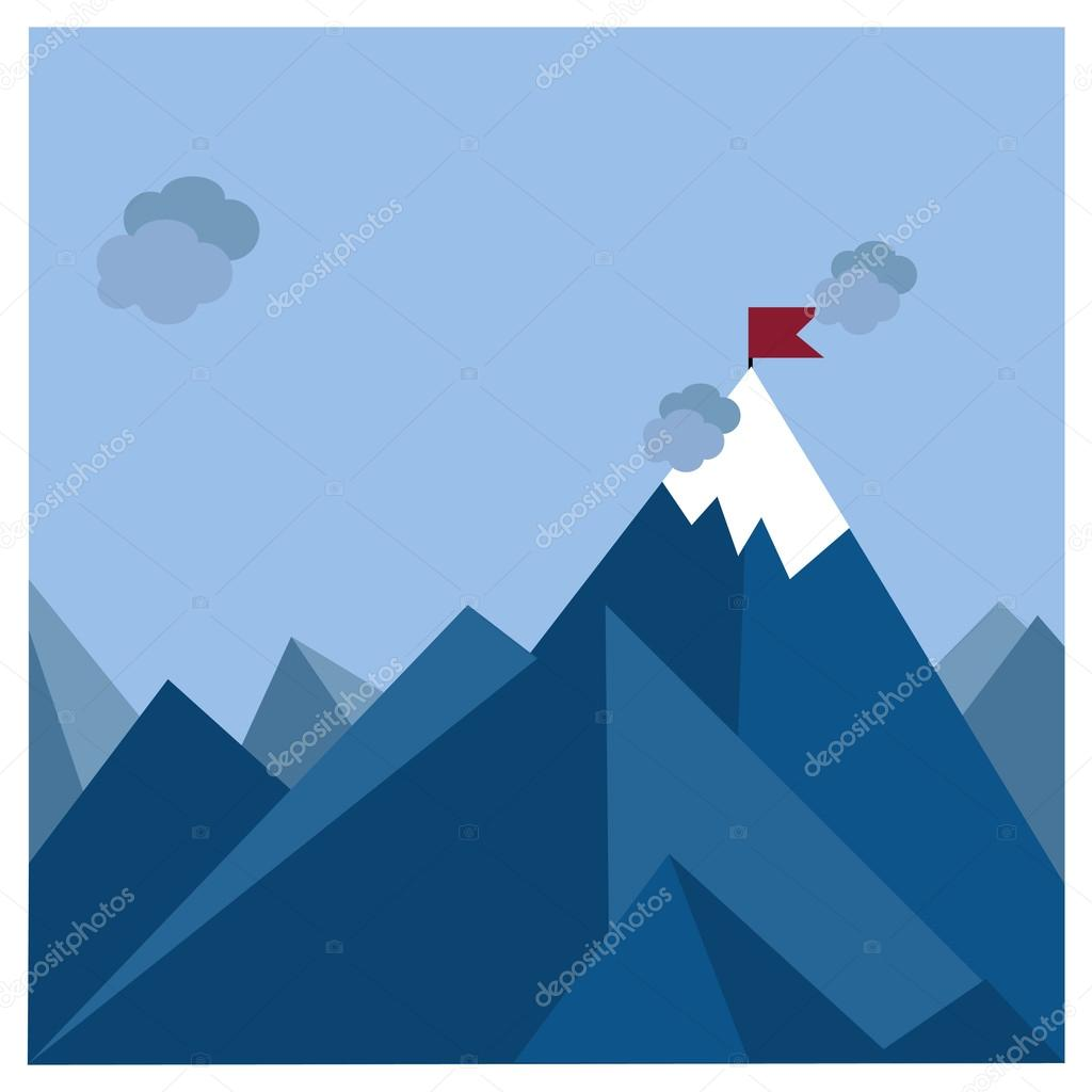 Flag on mountain. achievement concept