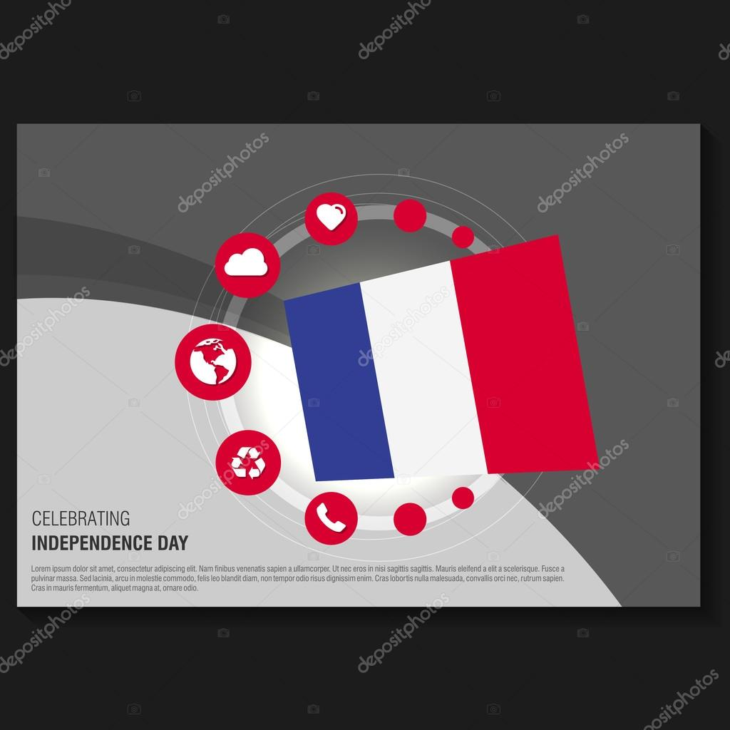 France Independence Day Flyer U2014 Stock Vector