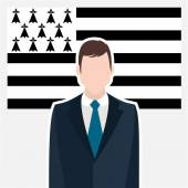 Photo businessman character standing in front of flag