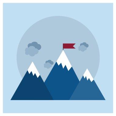 Flag on mountain. achievement concept
