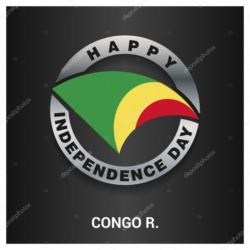 Republic Of Congo Independence Day Badge Stock Vector - Congo independence day