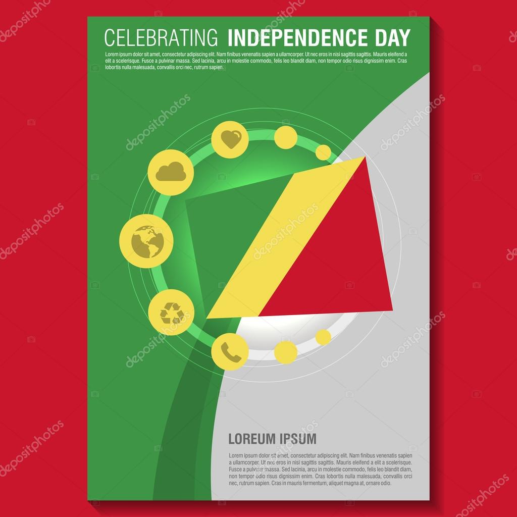 Republic Of Congo Independence Day Flyer Stock Vector - Congo independence day