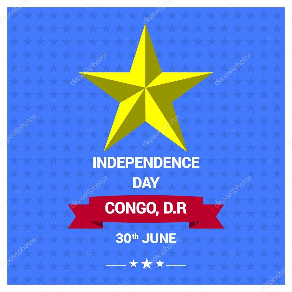 Heureux Le Jour De Lindépendance Du Congo RDC Image Vectorielle - Congo independence day