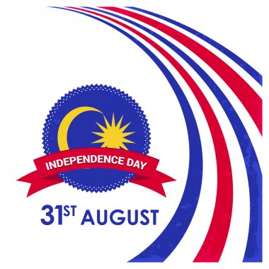 31 August Celebration Card. Typography design elements Malaysia Independence day background.