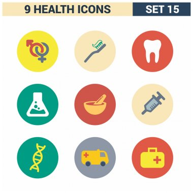 9 application Medical icons set.