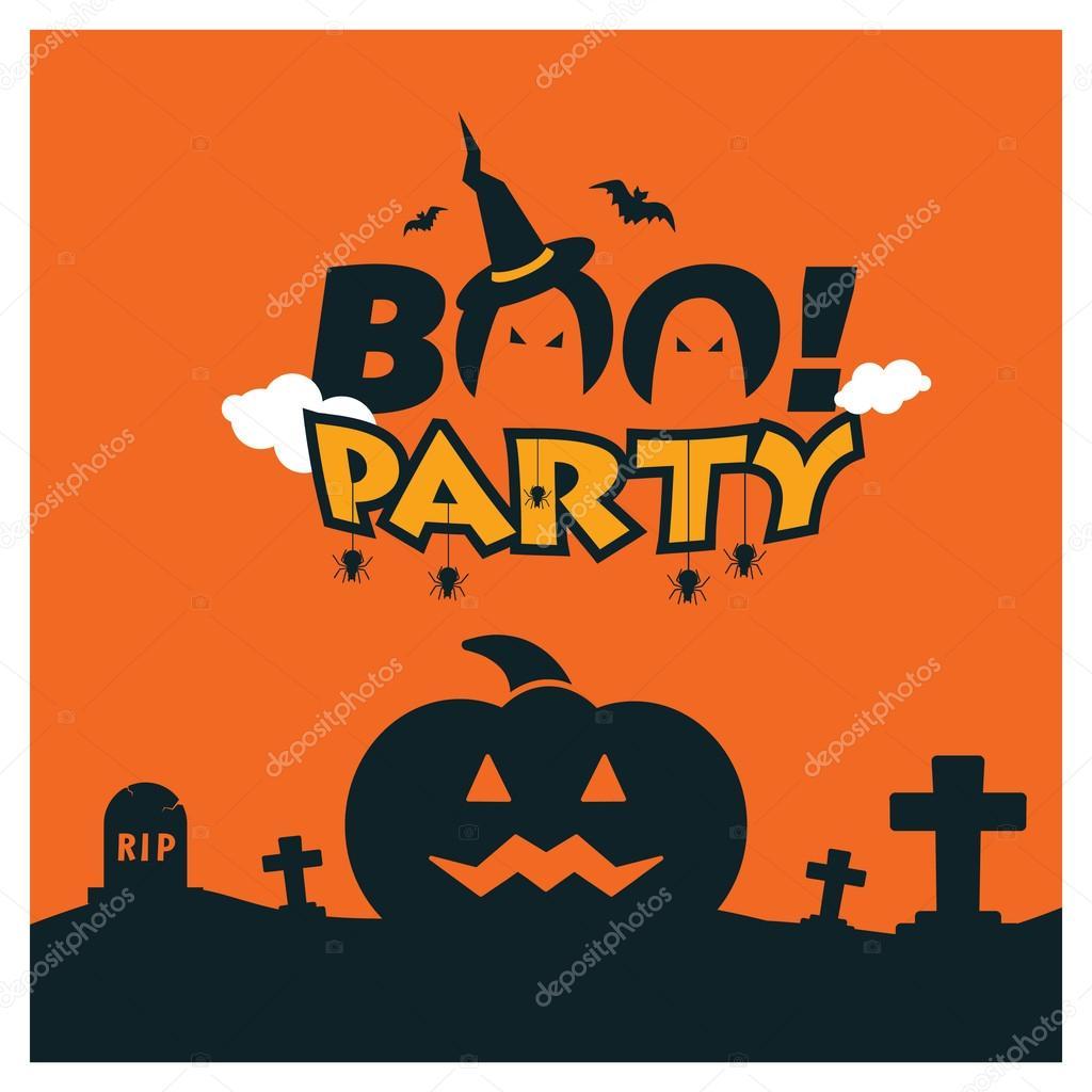 Halloween Boo Party Card Design
