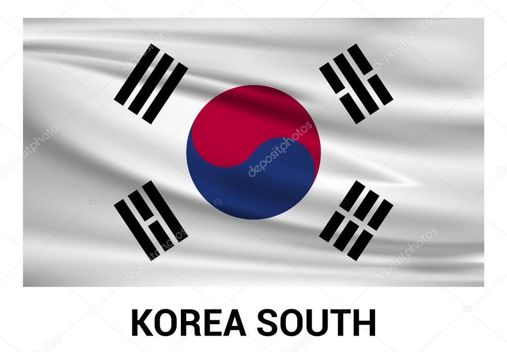 Ondeando Bandera De Corea Del Sur
