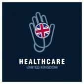 Britische Nationalflagge auf Stethoskop