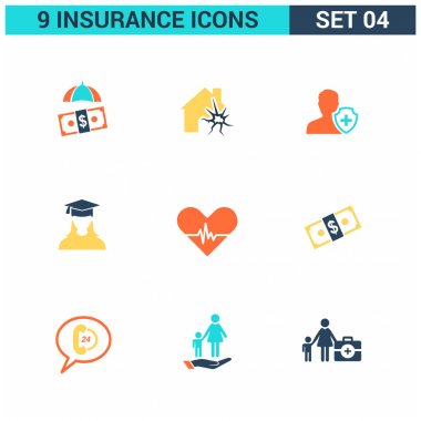 9 application Insurance Icons set.